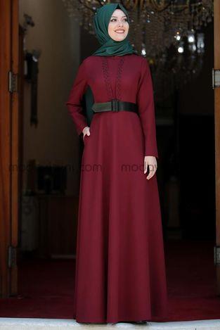 Ada İncili Elbise Bordo - SMR1002 - Thumbnail