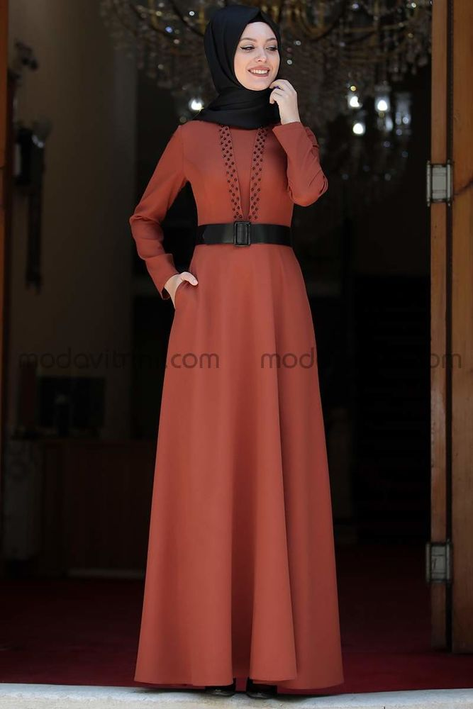 Ada İncili Elbise Kiremit - SMR1002