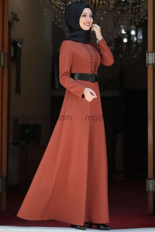 Ada İncili Elbise Kiremit - SMR1002 - Thumbnail
