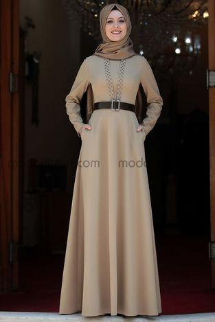 Ada İncili Elbise Vizon - SMR1002 - Thumbnail