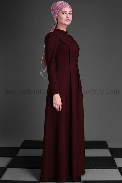 f02155ea03e95 Annahar Buğlem Tesettür Elbise Bordo