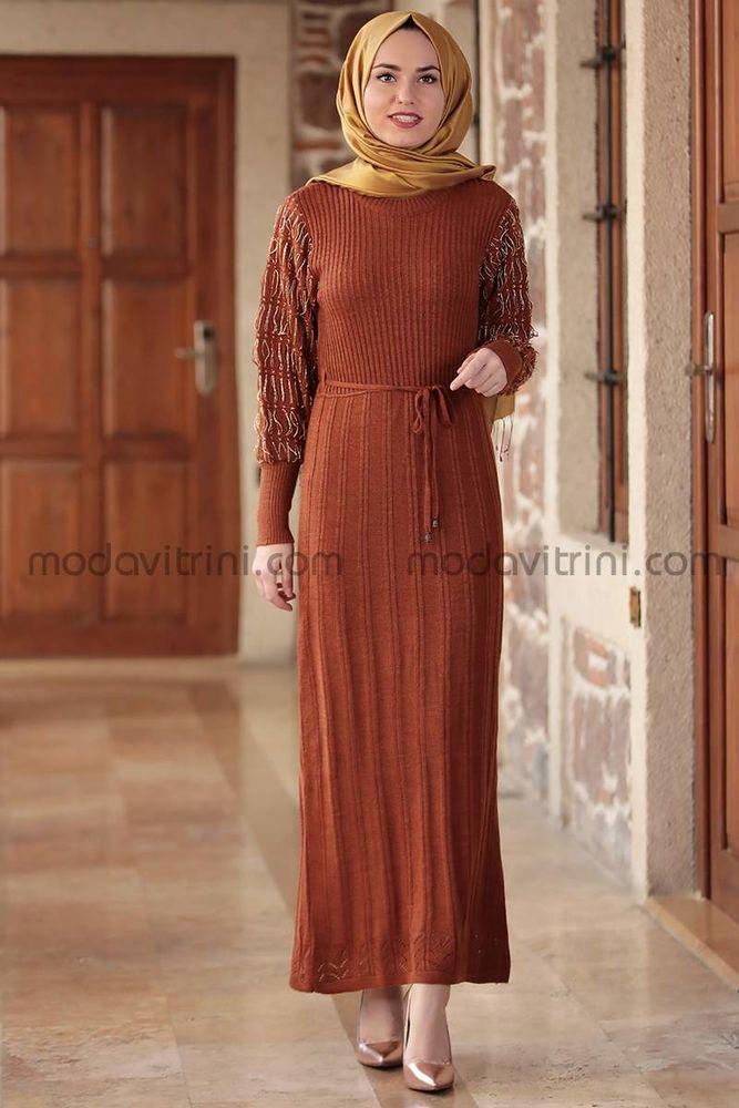 Bahar Triko Elbise Kiremit - MDV1030