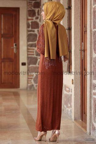 Bahar Triko Elbise Kiremit - MDV1030 - Thumbnail