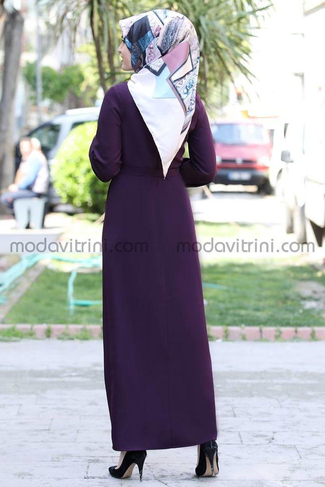Balon Kol Kalem Elbise Mor - MDV1013