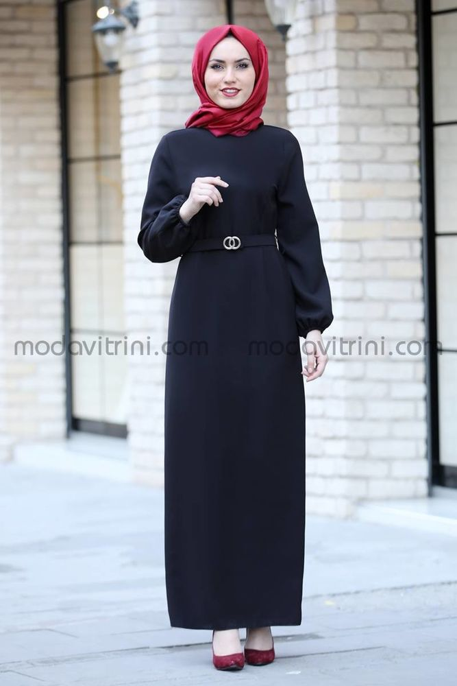 Balon Kol Kalem Elbise Siyah - MDV1013