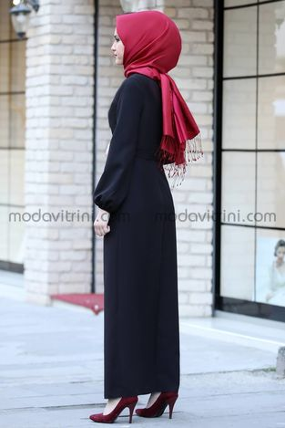 Balon Kol Kalem Elbise Siyah - MDV1013 - Thumbnail