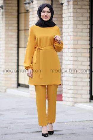 Balon Kol Tunik Pantolon Takım Hardal - MDV5004 - Thumbnail