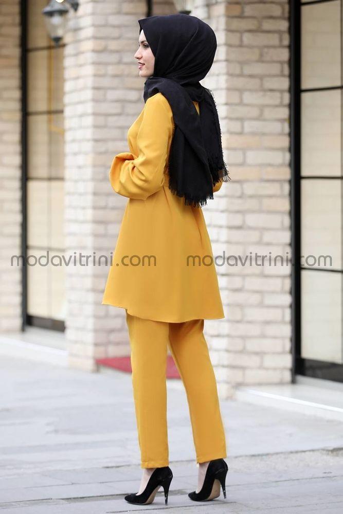 Balon Kol Tunik Pantolon Takım Hardal - MDV5004