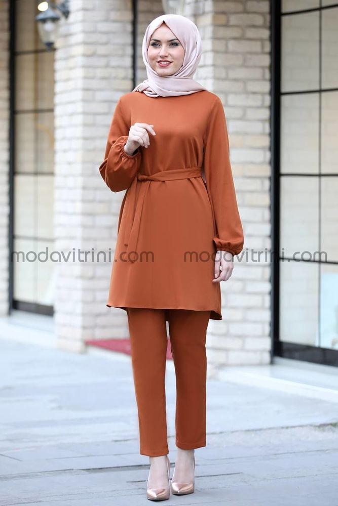 Balon Kol Tunik Pantolon Takım Kiremit - MDV5004