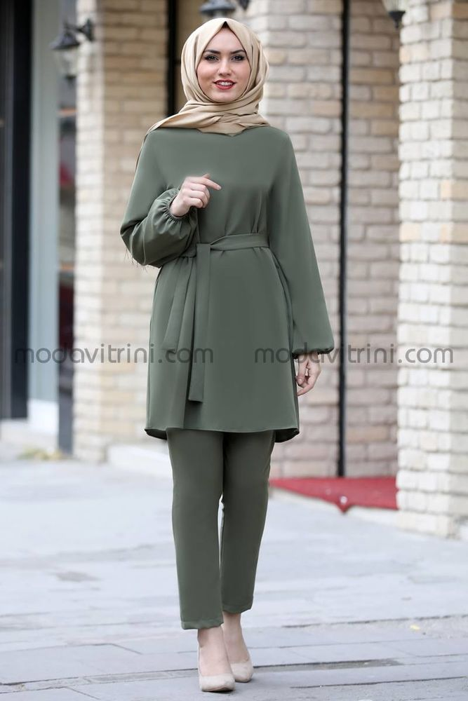 Balon Kol Tunik Pantolon Takım Yeşil - MDV5004