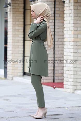 Balon Kol Tunik Pantolon Takım Yeşil - MDV5004 - Thumbnail