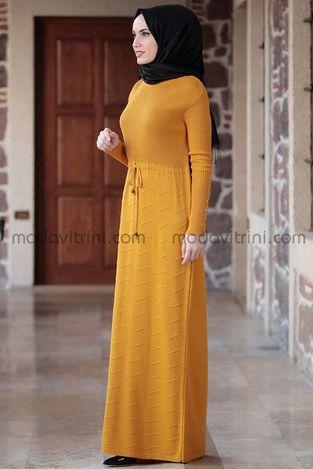 Beli Büzgülü Elbise Hardal - MDV5026 - Thumbnail