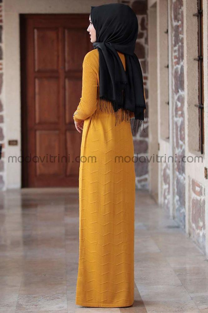 Beli Büzgülü Elbise Hardal - MDV5026
