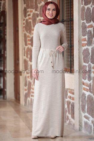 Beli Büzgülü Elbise Taş - MDV5026 - Thumbnail