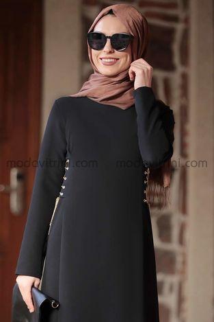 Beste Elbise Siyah - RNZ1046 - Thumbnail