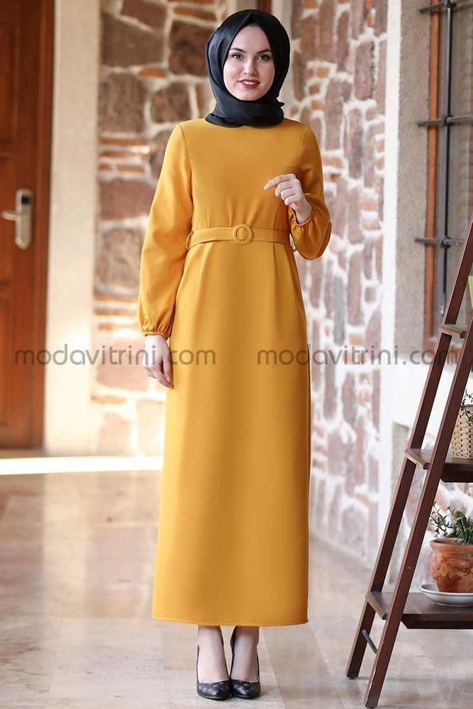 Balon Kol Kalem Elbise Hardal - MDV1013