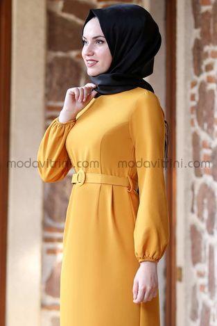 Balon Kol Kalem Elbise Hardal - MDV1013 - Thumbnail