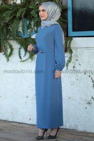 Balon Kol Kalem Elbise İndigo - MDV1013 - Thumbnail