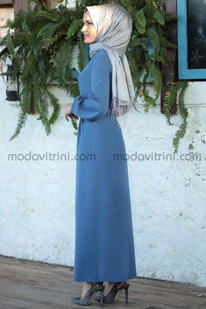 Balon Kol Kalem Elbise İndigo - MDV1013