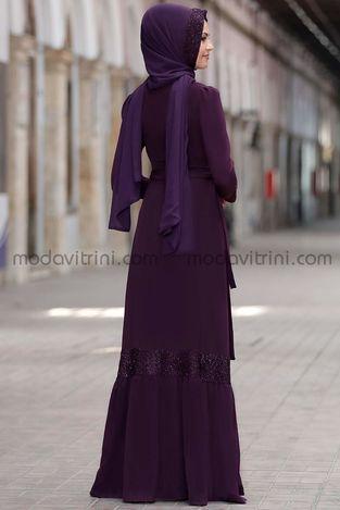 Buket Elbise Mürdüm - SRT1016 - Thumbnail