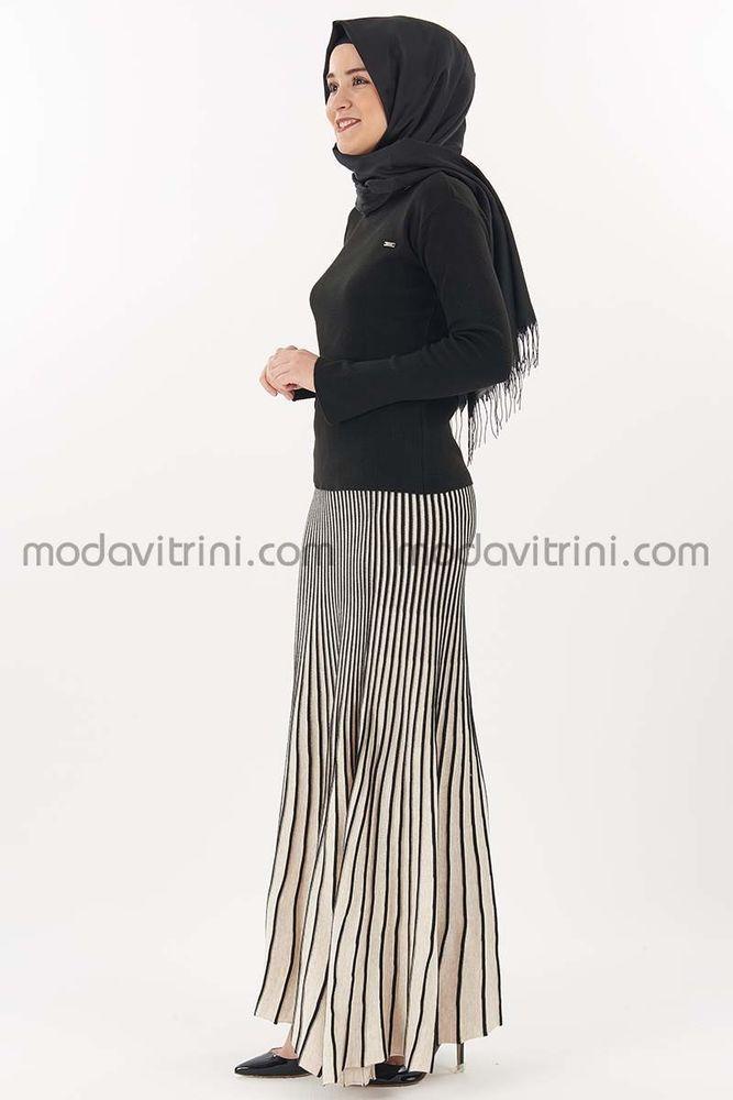 Çizgili Etek - Kazak Triko Takım Siyah - MDV5017