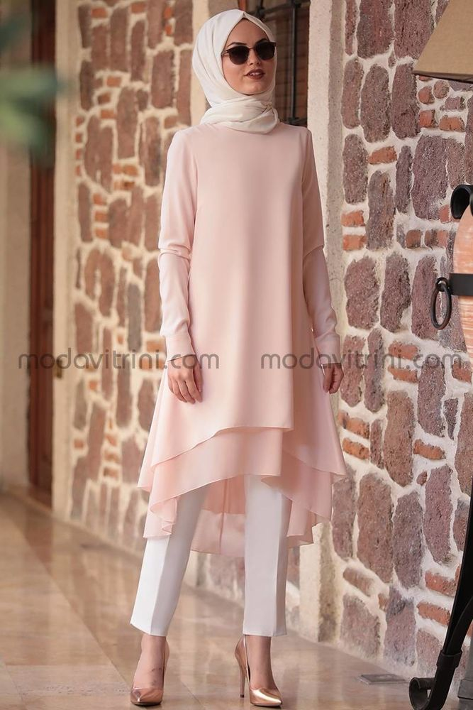 dfe6c311106 Crepe   Chiffon - Tunic dress - powder color - AMN1019