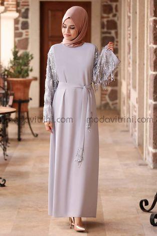 Destan Kolu Payet Saçak Elbise Gri - MDV5006 - Thumbnail