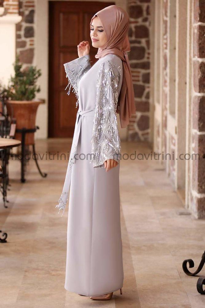 Destan Kolu Payet Saçak Elbise Gri - MDV5006