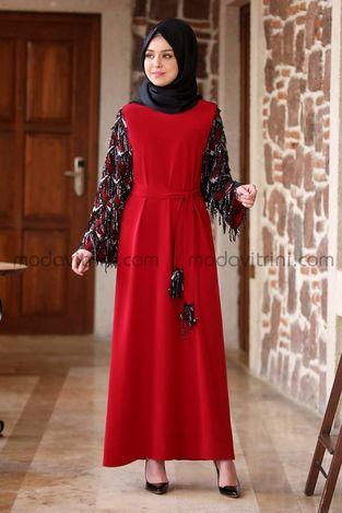 Destan Kolu Payet Saçak Elbise Kırmızı - MDV5006 - Thumbnail