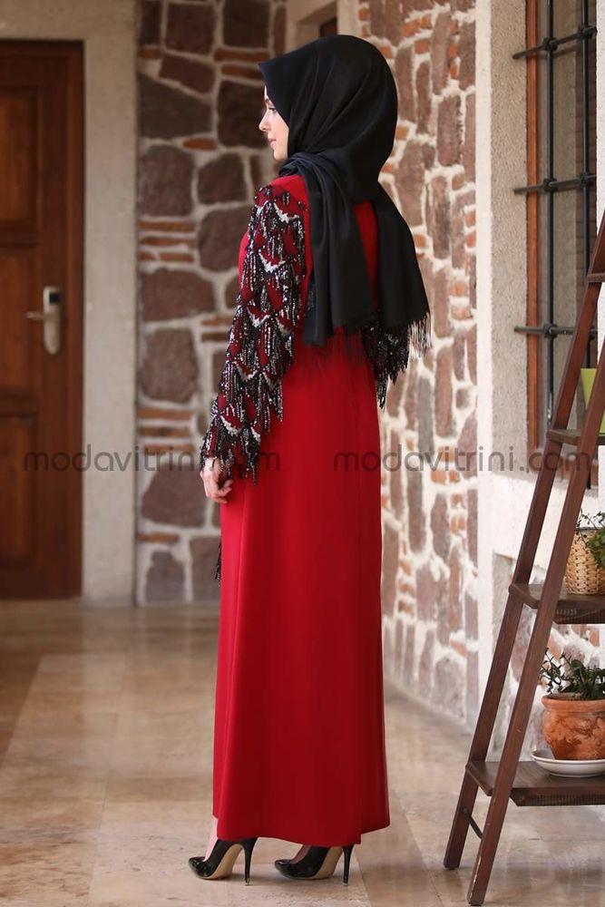 Destan Kolu Payet Saçak Elbise Kırmızı - MDV5006