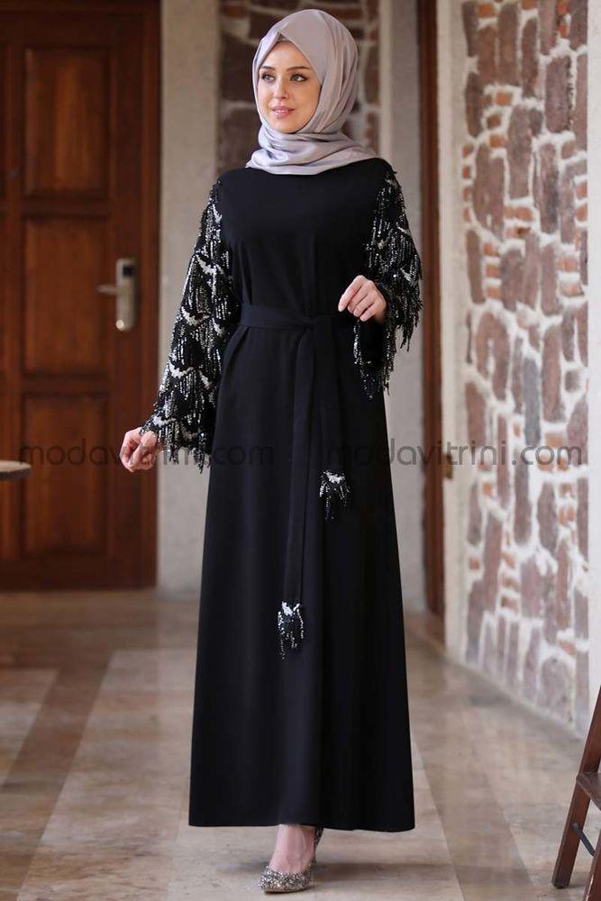 Destan Kolu Payet Saçak Elbise Siyah - MDV5006