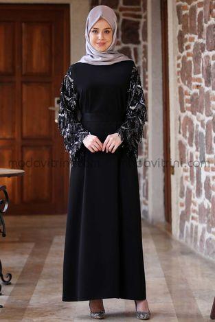 Destan Kolu Payet Saçak Elbise Siyah - MDV5006 - Thumbnail