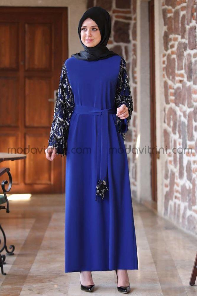 Destan Kolu Payet Saçak Elbise Saks - MDV5006