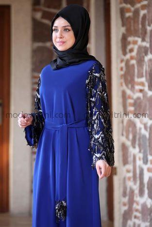 Destan Kolu Payet Saçak Elbise Saks - MDV5006 - Thumbnail