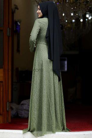 Dilşah Abiye Elbise Yağ Yeşili - PNN1025 - Thumbnail