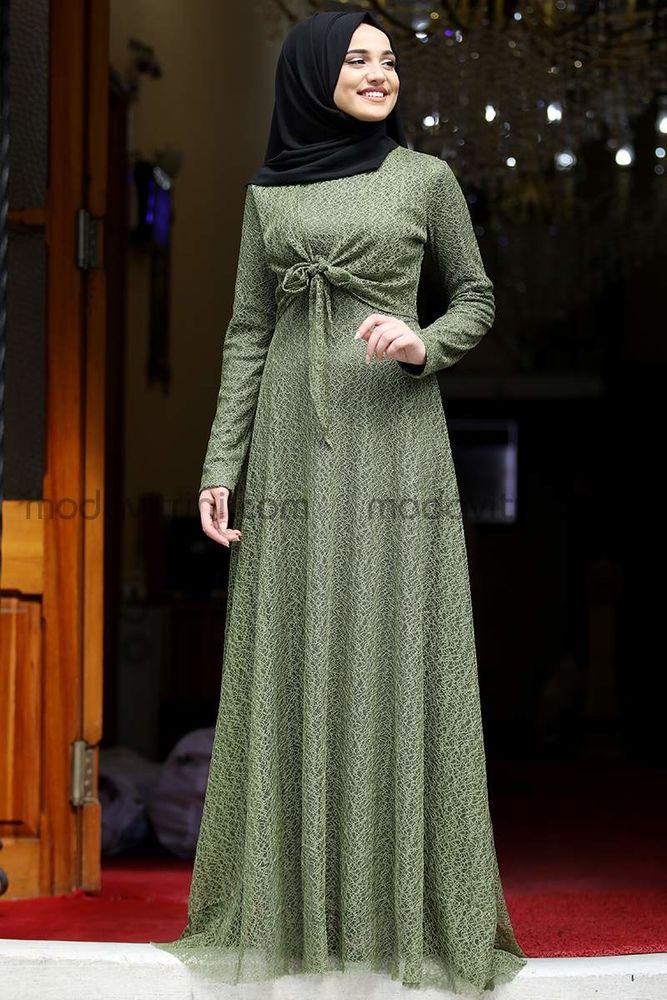 Dilşah Abiye Elbise Yağ Yeşili - PNN1025