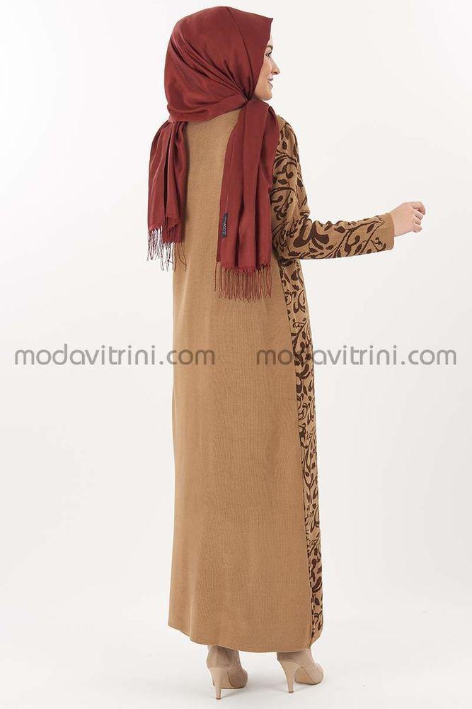 Elbise Ceket Desenli Takım Taba - MDV5011