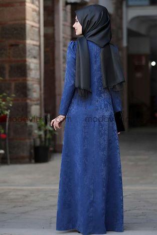 Esin Kadife Elbise Saks - SRT1099 - Thumbnail