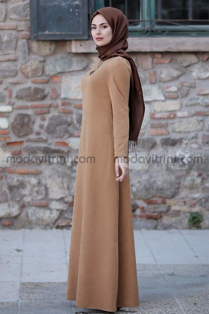 Esin Kadife Elbise Taba - SRT1099