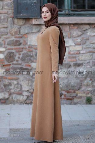 Esin Kadife Elbise Taba - SRT1099 - Thumbnail