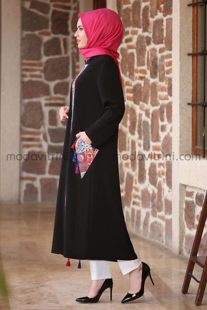 Etnik Ferace Tunik Siyah - MDV1050