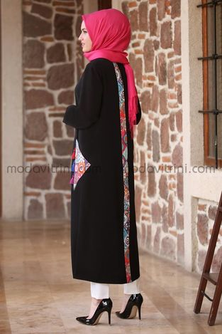 Etnik Ferace Tunik Siyah - MDV1050 - Thumbnail