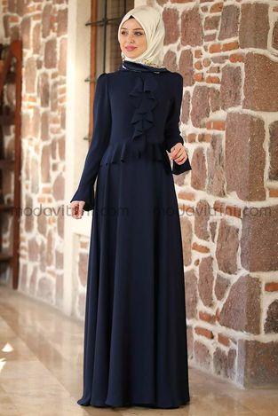 Fırfırlı Elbise Lacivert - MDV2010 - Thumbnail
