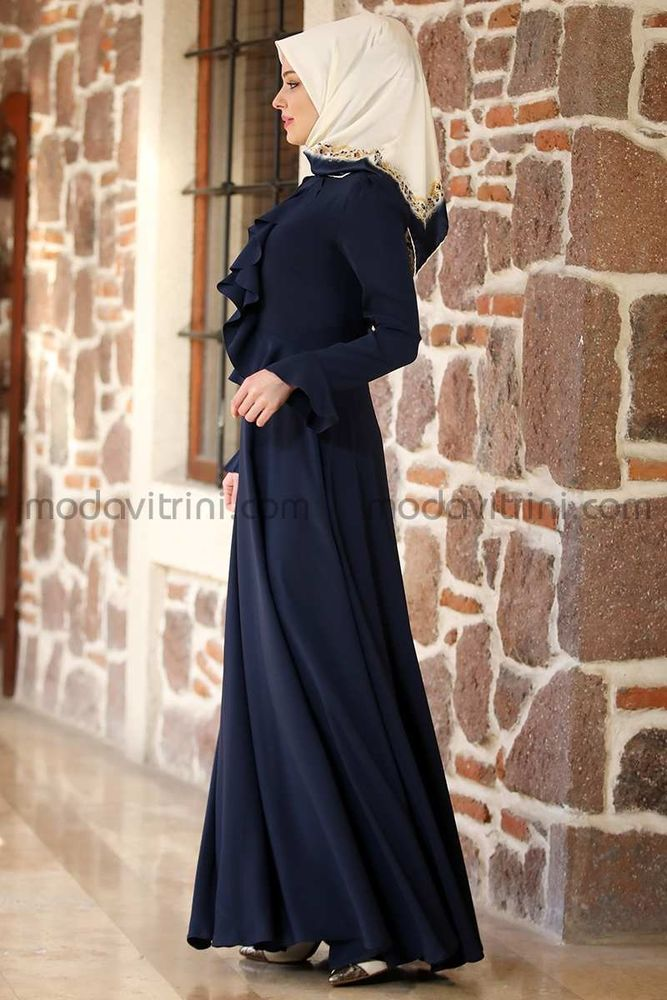 Fırfırlı Elbise Lacivert - MDV2010