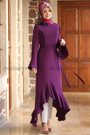 Fırfırlı Uzun Tunik Mürdüm - MDV2008 - Thumbnail