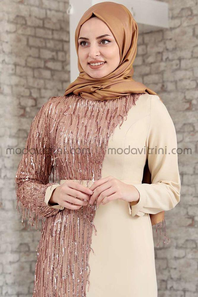 Firuze Saçaklı Elbise Bej - MDV2039