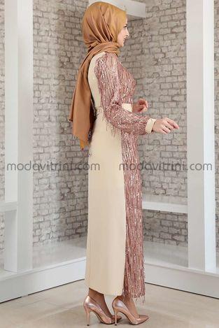 Firuze Saçaklı Elbise Bej - MDV2039 - Thumbnail