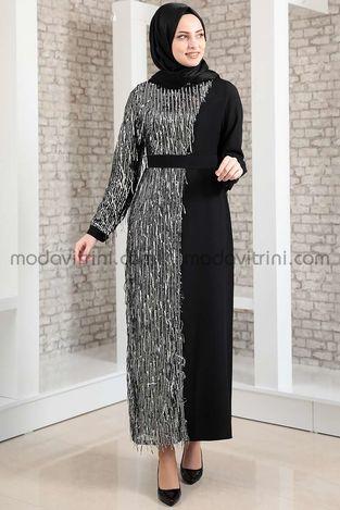Firuze Saçaklı Elbise Siyah & Gümüş - MDV2039 - Thumbnail