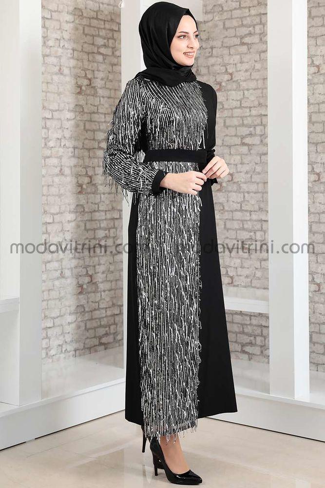 Firuze Saçaklı Elbise Siyah & Gümüş - MDV2039