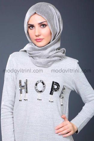 Hope Triko Tunik Gri - SMF1040 - Thumbnail